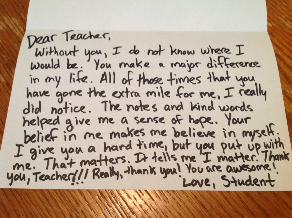 The Thank You Note You May Never Get  Dear TeacherLove Teacher