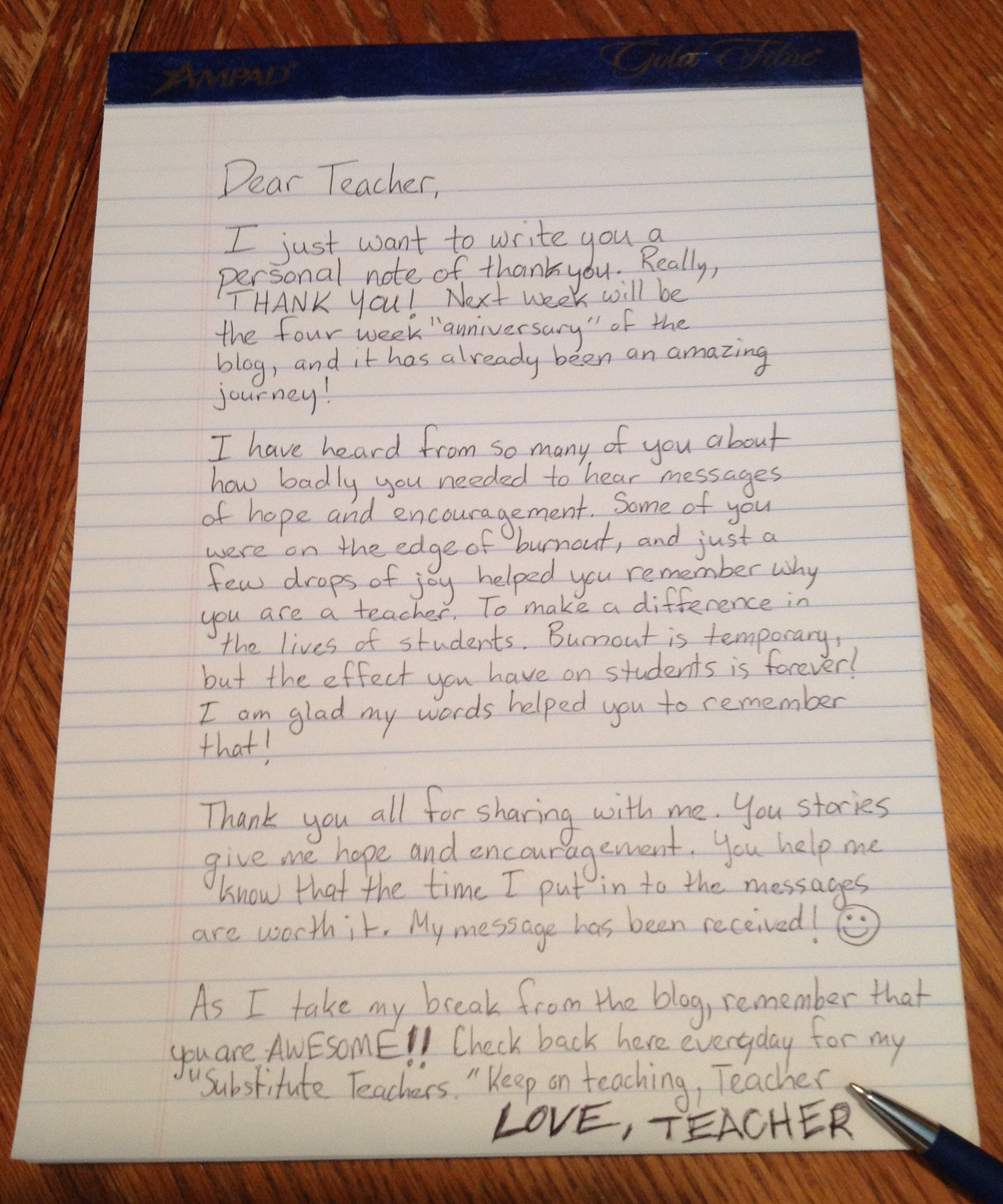 handwritten note dear teacher love teacher c dearteacherlt2013 you use this picture of you link back to this