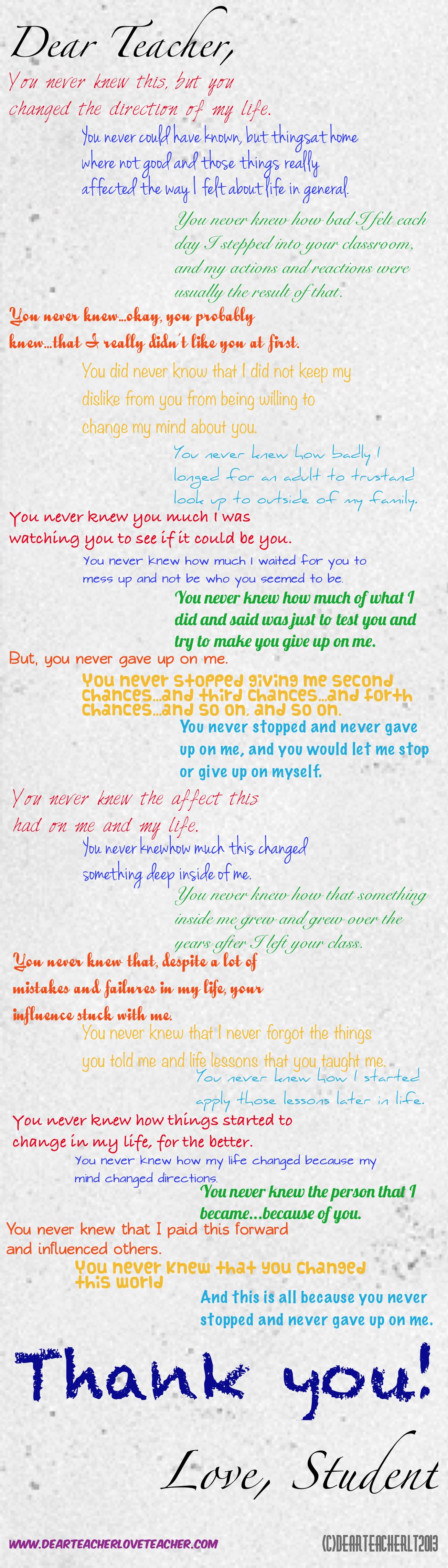 thank you note to teachers   Dear Teacher/Love Teacher