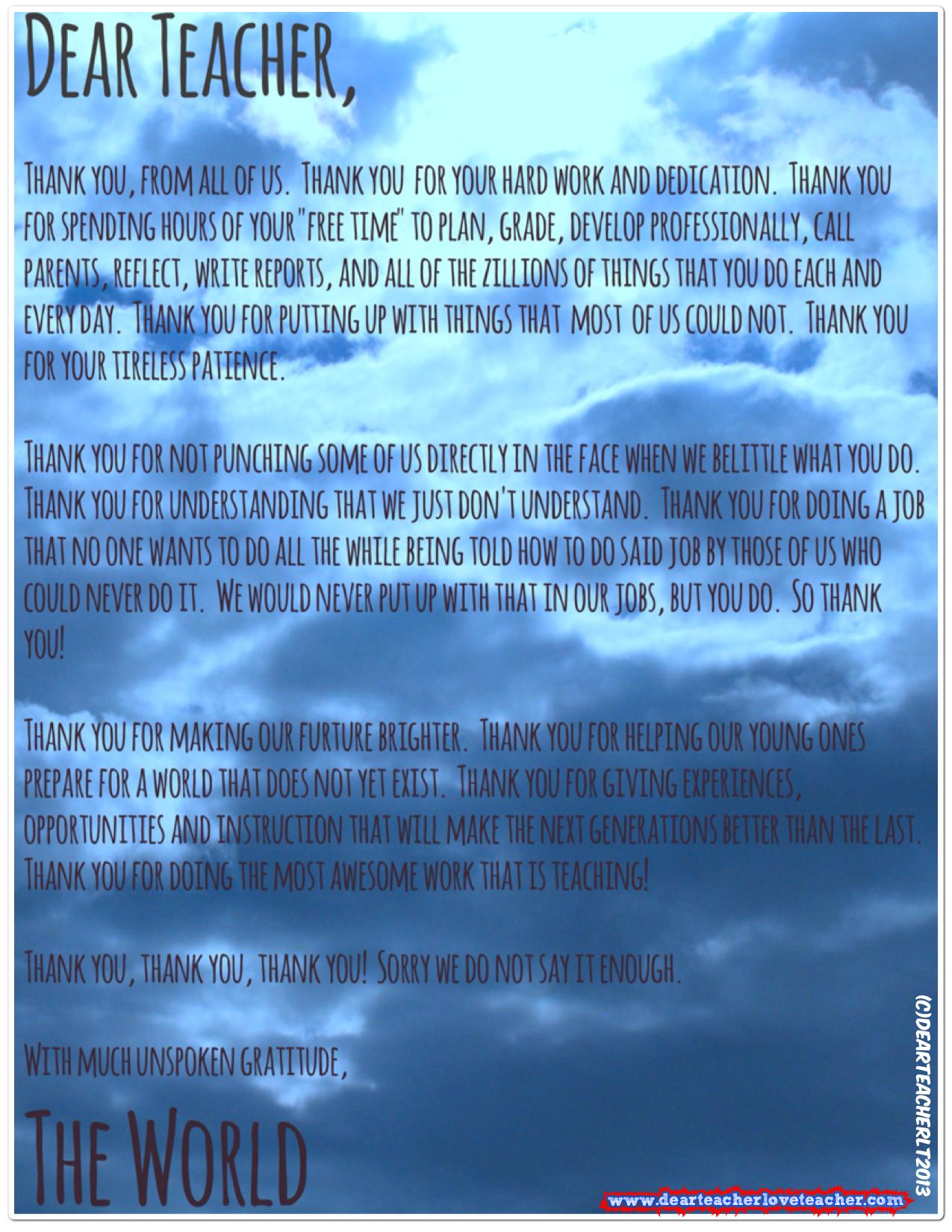 Heartfelt Letter To Teacher