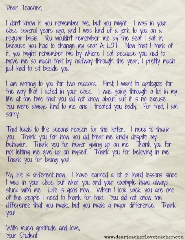 "Dear Teacher Daily – A Letter From That ""One Student"" – Dear"